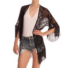 Ark Black Kitsune Lace Kimono www.ark.co.uk #kimono #trend #vintage #style #arkclothing