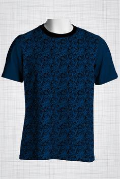 Plus Size Men's Clothing Deep blue paisley print CC0424
