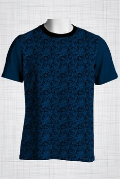 Plus Size Men's Clothing Deep blue paisley print CC0424