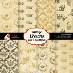 Royal Crowns Digital Background Paper - Crowns, wreaths, birds, and keys. Even a crown damask pattern! All on distressed gold paper.