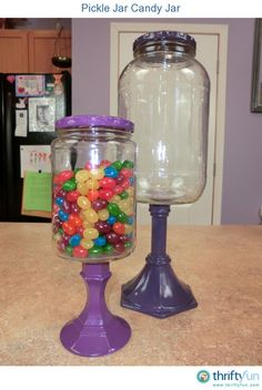 candy jars using old glass jar (recyled) and dollar store candle sticks! Cute Crafts, Crafts To Do, Diy Crafts, Wooden Crafts, Fall Crafts, Paper Crafts, Pickle Jars, Pickle Jar Crafts, Jelly Jar Crafts