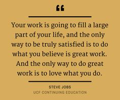 The Only Way To Do Great Work Is To Love What You Do Steve Jobs Quotes Inspriationalquotes Ucfce