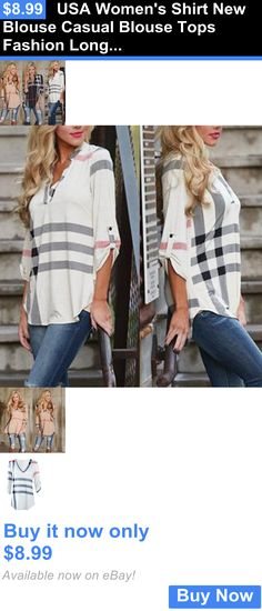 Women Tops Blouses: Usa Womens Shirt New Blouse Casual Blouse Tops Fashion Long Sleeve Loose BUY IT NOW ONLY: $8.99