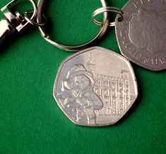 Paddington at the Tower Commemorative UK coin from 2019 Collection, Keychain or Pendant King Do, Christmas Labels, Paddington Bear, World Coins, Key Fobs, Unique Gifts, Pouch, Tower, Handmade Items