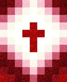 Our quilt kit is already precision pre-cut for accuracy. This easy to sew religious cross quilt kit can be made into a perfect baby quilt with beautiful red ton