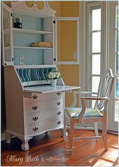 Secretary Desk Makeover~~~my parent's secretary - what it would look like painted!