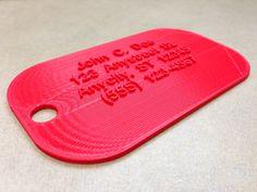 Custom 3D printed luggage tags