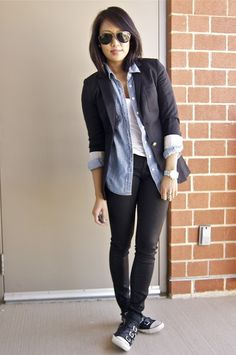 Black blazer, chambray buttondown, cool shoes. From a fashion deliberation.