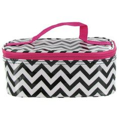 Store and organize makeup and tools in this fashion-forward chevron cosmetic case.