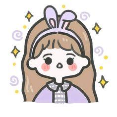 Cute Little Drawings, Cute Cartoon Drawings, Cute Cartoon Girl, Cute Kawaii Drawings, Cartoon Art Styles, Cute Doodle Art, Cute Doodles, Stickers Kawaii, Cute Stickers