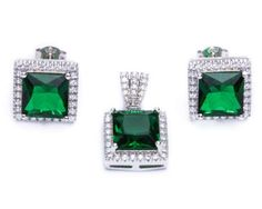 925 Sterling Silver Princess Cut Simulated Emerald Cz Earring Pendant Jewelry set -- Check this awesome product by going to the link at the image. (This is an affiliate link and I receive a commission for the sales) Pendant Jewelry, Jewelry Sets, Princess Cut, Emerald, Engagement Rings, Sterling Silver, Image Link, Earrings, Stuff To Buy