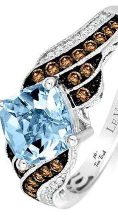 ❇Téa Tosh❇Le Vian, Sea Blue Aquamarine®, Chocolate Diamonds®, Vanilla Diamonds®, Set in 14k. Vanilla Gold