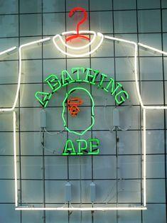 a bathing ape neon art Bape Outfits, Nigo, Diamond Supply, A Bathing Ape, Urban Art, Urban Decor, Stussy, Neon Lighting, Store Design