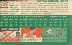 1954 Topps #122 Johnny Logan Back