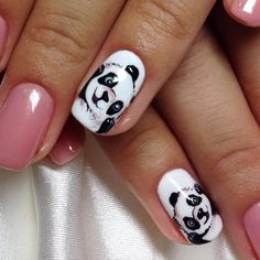 #nailart #panda #pink Panda Nail Art, Animal Nail Art, Eye Makeup Designs, Nail Designs, Nail Drawing, Cute Panda Wallpaper, Rose Gold Nails, Girls Nails, Trendy Clothes For Women