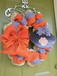 I need this!!! WAR EAGLE! Auburn Tigers Burlap Football Wreath by CurlyQsCreation on Etsy, $65.00