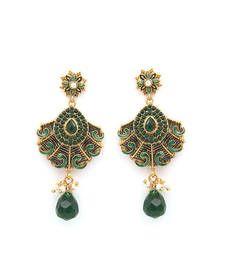 Buy Green Polki Earrings danglers-drop online