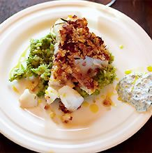 Jamie Oliver's Crusted Cod with Mashy Peas and Tartar Sauce - it may not be ready in 30 minutes, but it's darn tasty!