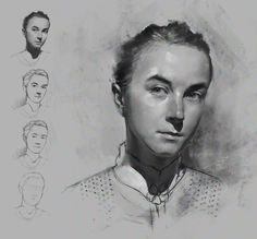 B&W portrait, Pawel Rebisz on ArtStation at https://www.artstation.com/artwork/ea526