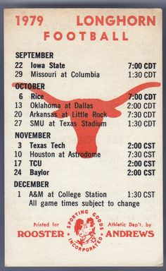 1979-80-81 TEXAS LONGHORNS ROOSTER ANDREWS FOOTBALL POCKET SCHEDULE FREE SHIP