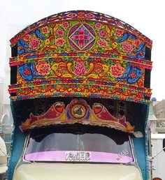 Moving Art :) Truck Art Pakistan Truck Art Pakistan, Pakistan Travel, Stall Signs, Bus Art, Indian Textiles, Truck Design, Painted Boxes, Indigenous Art, Best Graphics
