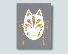 Kitsune Mask Paper Collage Mirror Paper, Yellow Mirrors, Kitsune Mask, 3 Shop, Lapel Pins, Washi, Collage, Handmade Gifts, Etsy