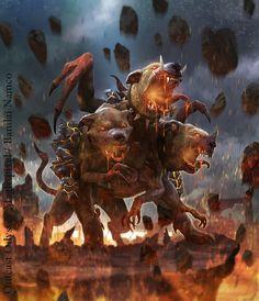 "Cerberus by Xavier ""Lozano"" Ribeiro Freelance illustrator/ Concept Art Mythical Creatures Art, Mythological Creatures, Magical Creatures, Fantasy Creatures, Dark Fantasy Art, Legends And Myths, Greek And Roman Mythology, Fantasy Beasts, Monster Art"