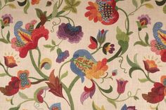 Richloom Gloria Printed Linen Blend Drapery Fabric in Jubilee. This printed fabric is perfect for window treatments, decorative pillows, handbags, light duty upholstery applications and almost any craft...