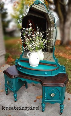 Painted and Stained Mahogany Vanity - a damaged veneered vanity is painted and distressed and the top is stained.  {createinspire}