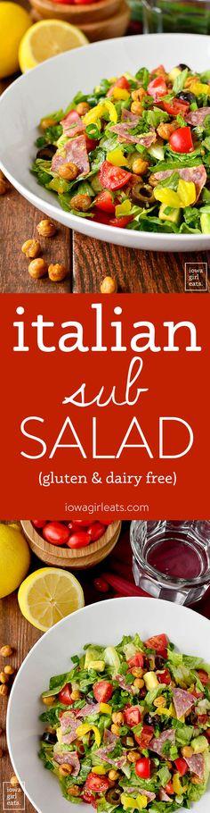Italian Sub Salad tastes like a jam-packed Italian deli sub. Fresh, healthy, and gluten-free!