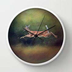I Can Fly - Deer - Wildlife Wall Clock by Jai Johnson - $30.00