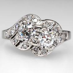 Retro Twin Diamond Engagement Ring 14K White Gold