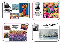 Imagier keychain for artists - Vivi& nursery school - The keyring imager is used to keep in mind the artists we discover over the months. I add a mini ar - Claude Monet, Kids Art Class, Art For Kids, Pop Art, Art History Memes, Art Mat, History Teachers, Pin Up Art, Funny Art