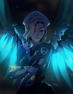 your guardian angel by vashperado.deviantart.com on @DeviantArt - More at https://pinterest.com/supergirlsart #mercy #overwatch #uprising #fanart