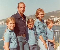 Spanish Royals:  The Spanish Royal Family during the summer holidays in Palma in 1976-Elena, King Juan Carlos, Cristina, Queen Sofia, Felipe
