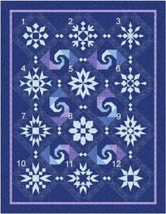 """This would be so helpful if I do a """"Frozen"""" quilt for S. - New Quilt Pattern Snow Stormy Night Blocks Sampler Quilts, Star Quilts, Quilt Blocks, Panel Quilts, Quilting Projects, Quilting Designs, Sewing Projects, Snowflake Quilt, Snowflakes"""