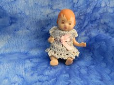 Tiny Porcelian Baby Doll in Blue Crochet Dress - Vintage Tiny Baby Doll - Hand Crochet Dress - Very Small Doll Old Small Jointed Baby Doll by on Etsy Vintage Porcelain Dolls, Pink Silk, Antique Shops, Dress Vintage, Hand Crochet, Baby Dolls, Kids Rugs, Hand Painted, Antiques