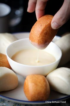 fried mantou with condensed milk. We NEED to try and make these. They are sex in a bun. So yummy!!!!