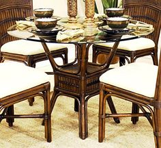 Polynesian Round Dining Table in Antique w 42 in Beveled Glass >>> Check this awesome product by going to the link at the image.Note:It is affiliate link to Amazon.