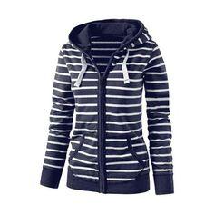 Hooded Striped Women Hoodies Sweatshirts Plus Size Zipper Autumn Tops Long Sleeves Korean Loose Pockets Pullovers Female** Zip Up Hoodies, Hooded Sweatshirts, Striped Hoodies, Hooded Sweater, Hooded Jacket, Striped Jacket, Striped Dress, Sport, Jumpers
