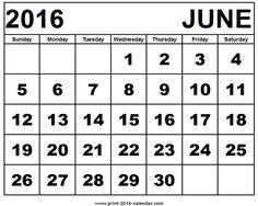 June 2016 Calendar Free Printable Calendar