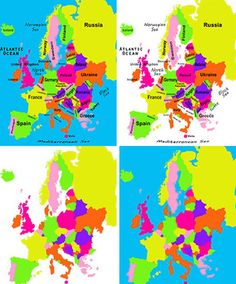 Terrific posters and clipart for your classroom! Maps of Europe in color, blackline and black and white.  Labeled with names of countries and bodies of water.  Blank maps for your kids to complete on their own. $