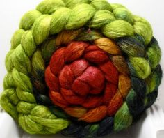 Chili Lime - BFL/Tussah 85/15 5oz  from Corgi Hill Farm. Loved spinning this colourway.  Can't wait to knit it into something.