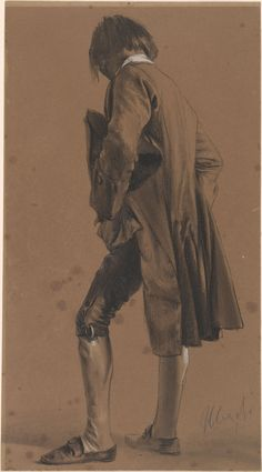 Standing young man, graphite, Adolph Menzel (1815 - 1905)