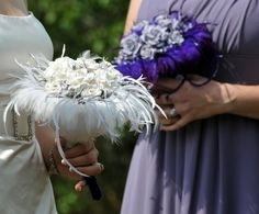 Dark blue on the outside, light blue on the inside    Unique Bridal Bouquets Featuring Handmade Paper Flowers with Feather Accents. $148.00, via Etsy.
