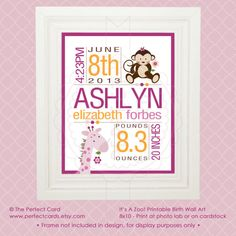8x10 Custom Birth Wall Art  It's A Zoo  Printable by perfectcards, $10.00
