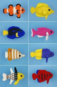 PDF Tropical Fish Sets 1-4 - eight amigurumi fish CROCHET PATTERNS Nemo Dory etc