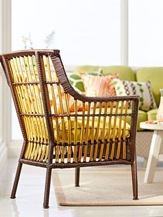 Furniture Refabs | This is a fun way to refab a chair by painting just the vertical spindles.