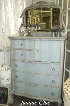 French Country Shabby Cottage chic French Provencal by JunqueChic. I love the two tone paint job on this dresser.