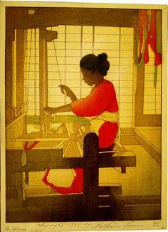 Bertha Lum woodblock print | 'The Spinner' (1918)